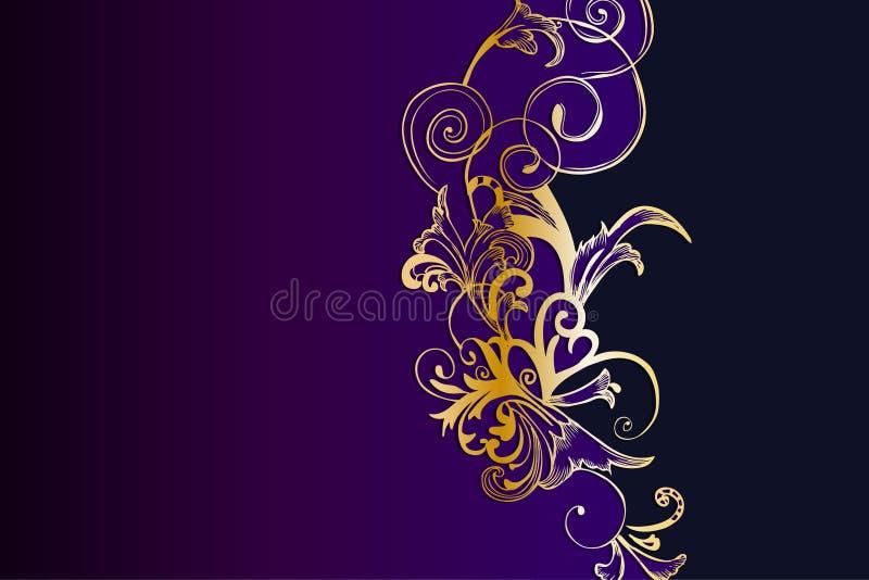 Plantilla floral de oro y púrpura occidental del fondo libre illustration