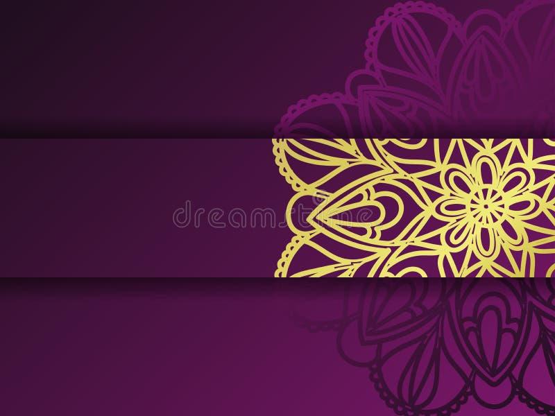 Plantilla floral de oro y púrpura occidental de la tarjeta de felicitación, Mandala Texture libre illustration