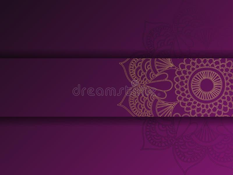 Plantilla floral de oro y púrpura occidental de la tarjeta de felicitación, textura del girasol ilustración del vector