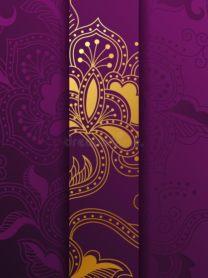 Plantilla floral de oro y p?rpura occidental del fondo ilustración del vector