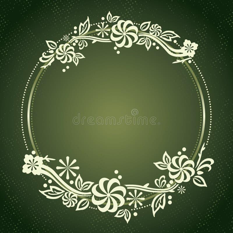 Plantilla floral del diseño del modelo del círculo del vintage ilustración del vector