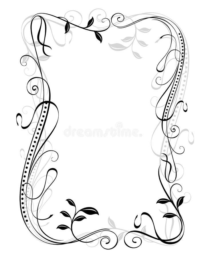 Plantilla floral del marco del vintage stock de ilustración