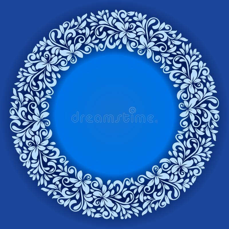 Plantilla floral del vector del marco del invierno abstracto ilustración del vector