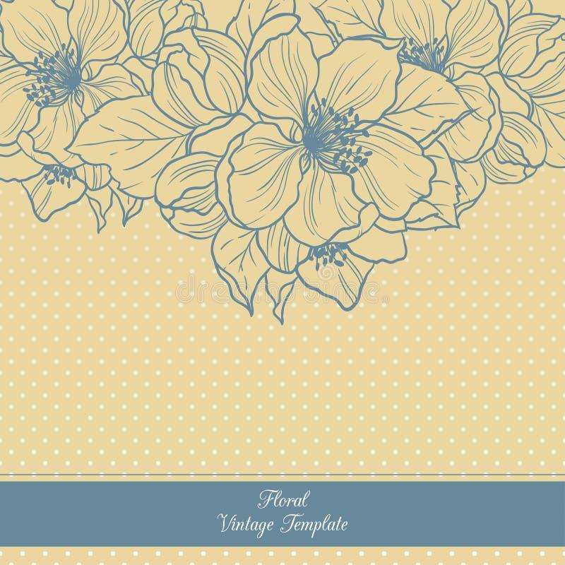 Plantilla floral del vintage Cherry Blossoms ilustración del vector