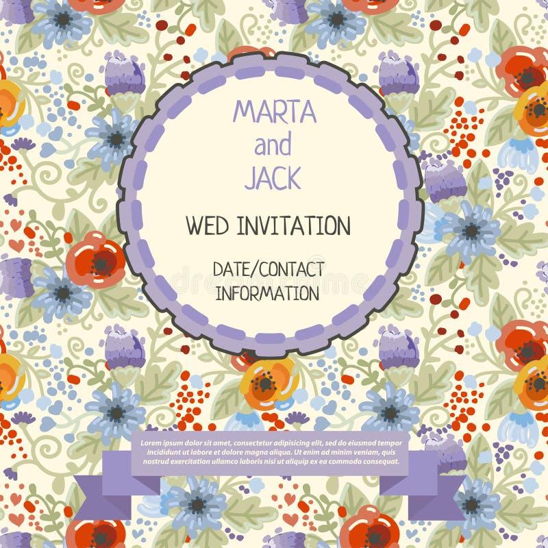 Plantilla floral linda para la invitación ilustración del vector