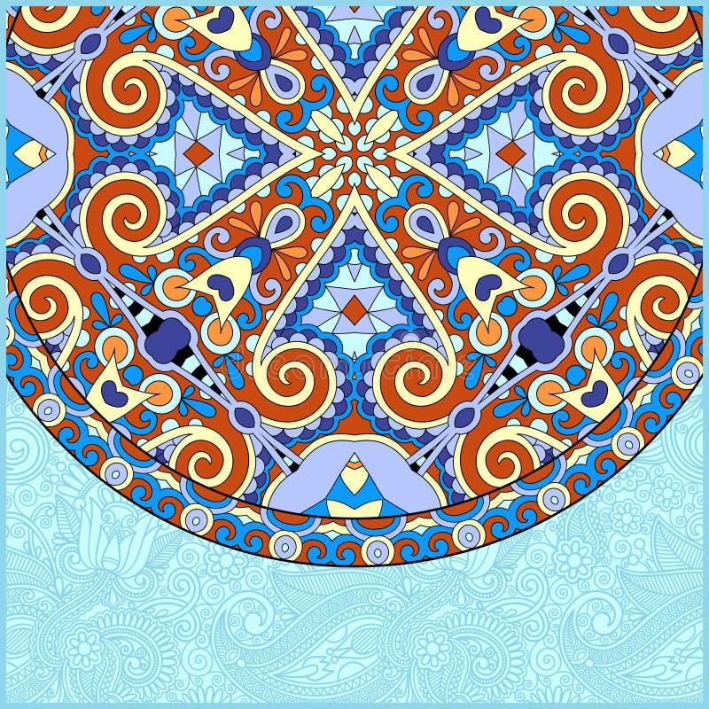 Plantilla floral ornamental con el plato étnico del círculo stock de ilustración