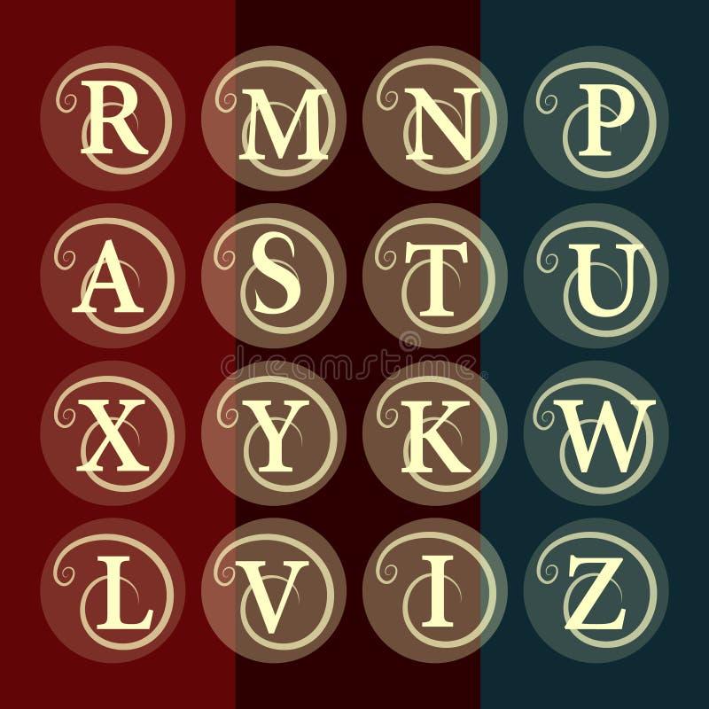 Plantilla floral simple y agraciada del diseño del monograma Línea elegante diseño del logotipo del arte Letra R, M, N, P, A, S,  stock de ilustración