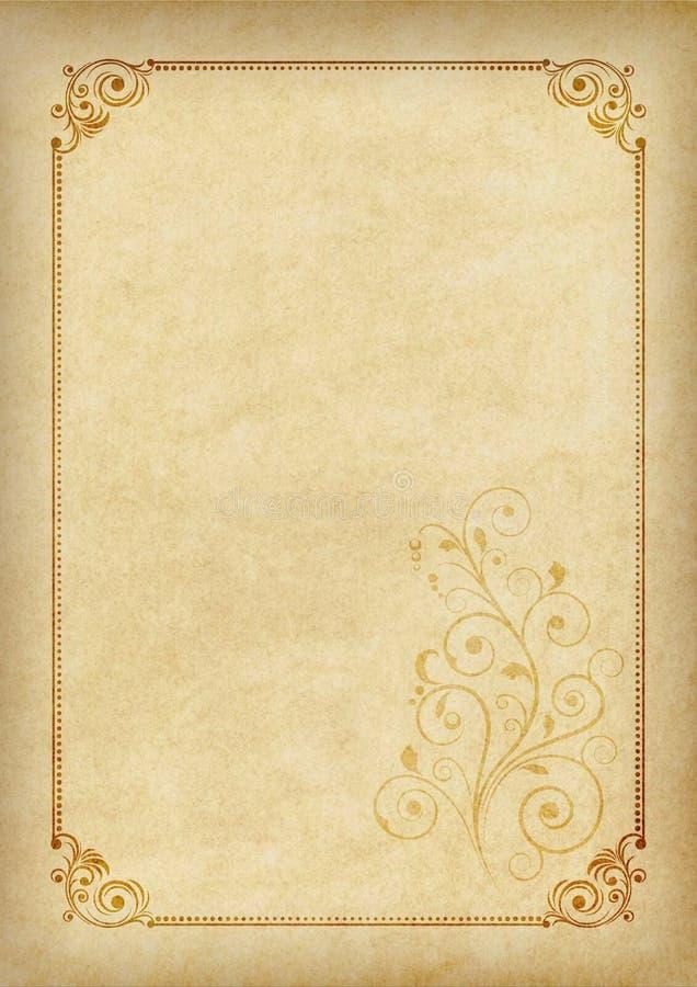 Plantilla, fondo con un marco y elemento decorativo en el pedazo de pergamino imagen de archivo libre de regalías