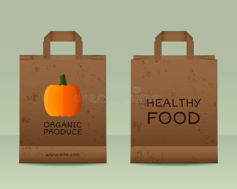 Plantilla fresca de las bolsas de papel de la granja elegante Mofa para arriba libre illustration