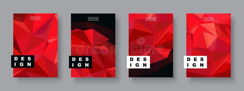 Plantilla futura del cartel del diseño futurista Pendientes geométricas mínimas del modelo Planeta rojo de semitono poligonal fotografía de archivo
