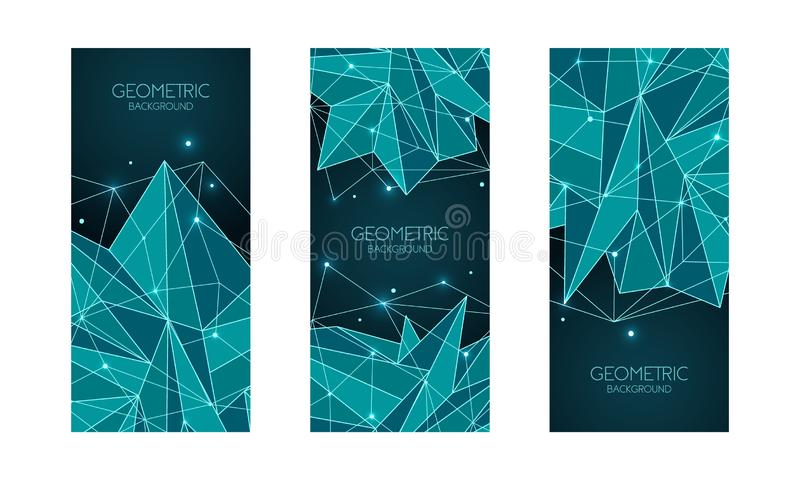 Plantilla futurista abstracta poligonal, muestra polivinílica baja en fondo azul marino L?neas del vector, puntos y formas del tr libre illustration