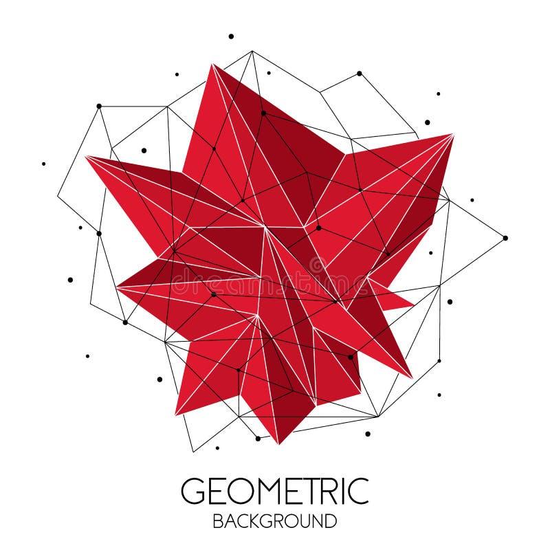 Plantilla futurista abstracta roja poligonal, muestra polivinílica baja en el fondo blanco L?neas del vector, puntos y formas del ilustración del vector