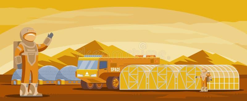 Plantilla futurista de la colonización de Marte ilustración del vector