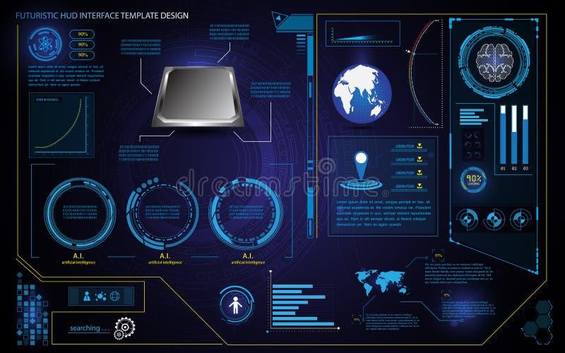 Plantilla futurista del concepto de la innovación de la atención sanitaria de la tecnología de diseño del elemento del interfaz d stock de ilustración