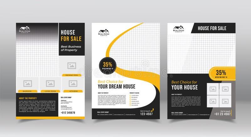 plantilla geométrica del diseño del folleto de las propiedades inmobiliarias plantilla de los diseños del folleto del aviador del ilustración del vector