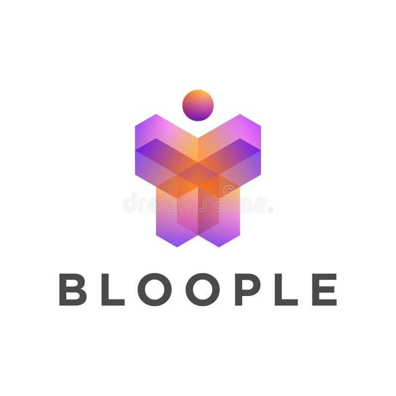 Plantilla geom?trica del logotipo de la forma 3d de la gente, colores p?rpuras anaranjados de la pendiente ilustración del vector