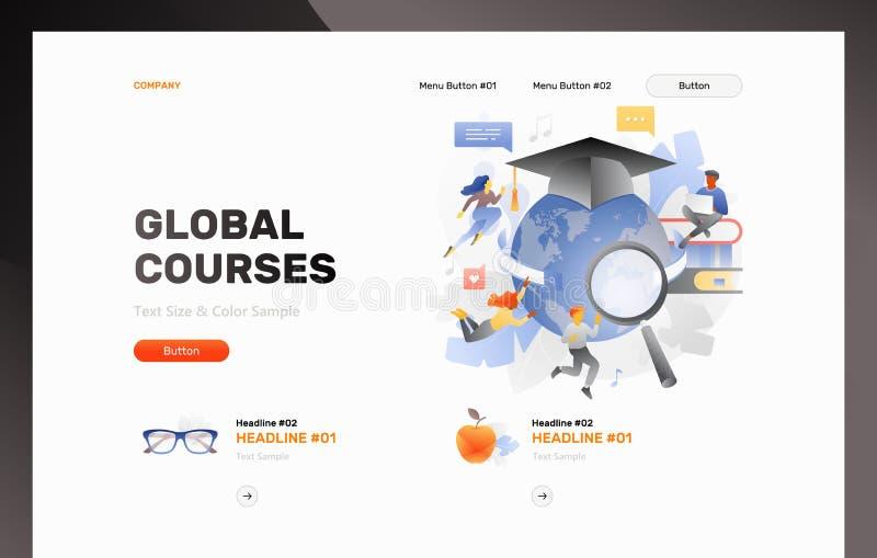 Plantilla global del jefe de la web de los cursos ilustración del vector