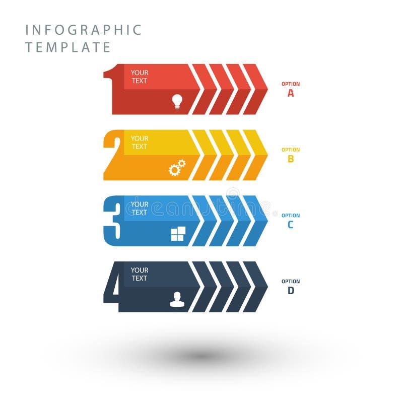 Plantilla gráfica de la información en colores planos en el fondo blanco stock de ilustración