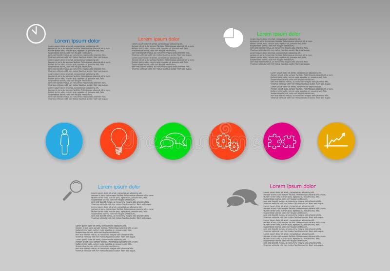 Plantilla gráfica de la web de la información de vector con seis iconos redondos del color con la sombra en fondo gris libre illustration