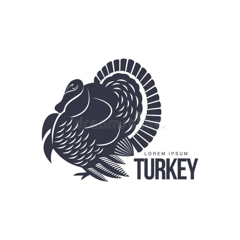 Plantilla gráfica del logotipo de la silueta estilizada del pavo ilustración del vector