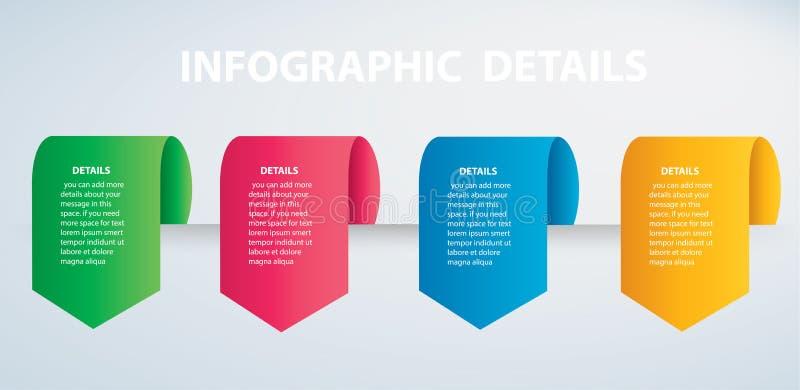 Plantilla gráfica del vector de la información cuadrada con 4 opciones Puede ser utilizado para el web, diagrama, gráfico, presen ilustración del vector
