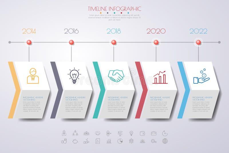 Plantilla/gráfico o web limpios de la cronología del número del diseño del paso del color stock de ilustración