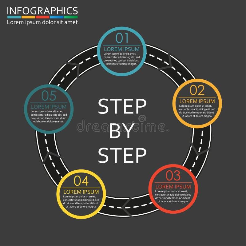 Plantilla gradual del infographics Elemento del diseño del camino con pasos, opciones o niveles Ilustración del vector stock de ilustración