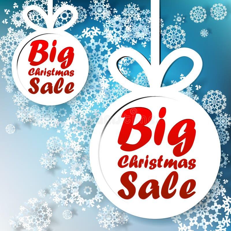 Plantilla grande de la venta de la Navidad con el espacio de la copia. ilustración del vector