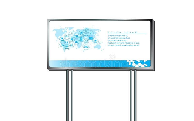 Plantilla grande del diseño de la cartelera de la muestra abstracta del vector para el márketing de publicidad en el fondo blanco stock de ilustración
