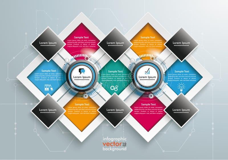 Plantilla grande Infographic de los rectángulos ilustración del vector