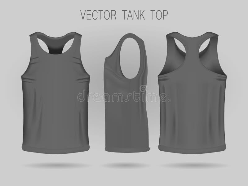 Plantilla gris de las camisetas sin mangas de los hombres en tres dimensiones: frente, lado y visi?n trasera ilustración del vector
