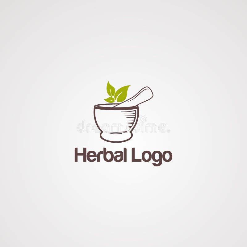 Plantilla herbaria abstracta del vector del logotipo con la hoja, y concepto tradicional stock de ilustración