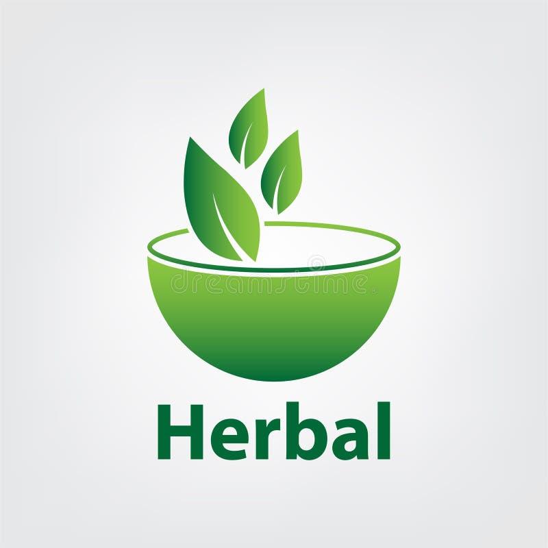 plantilla herbaria verde del logotipo, 100 herbarios en el fondo blanco ilustración del vector