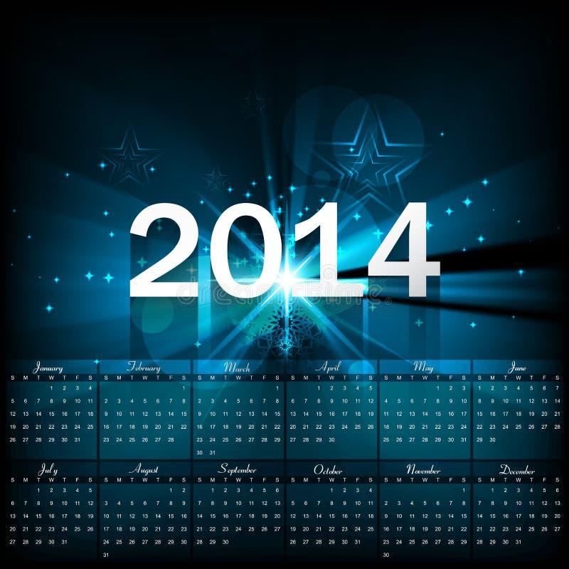 Plantilla hermosa 2014 del calendario stock de ilustración