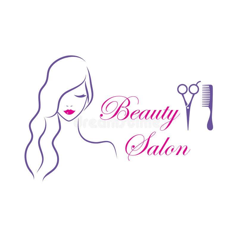 Plantilla hermosa del logotipo del vector de la mujer para el salón de belleza ilustración del vector
