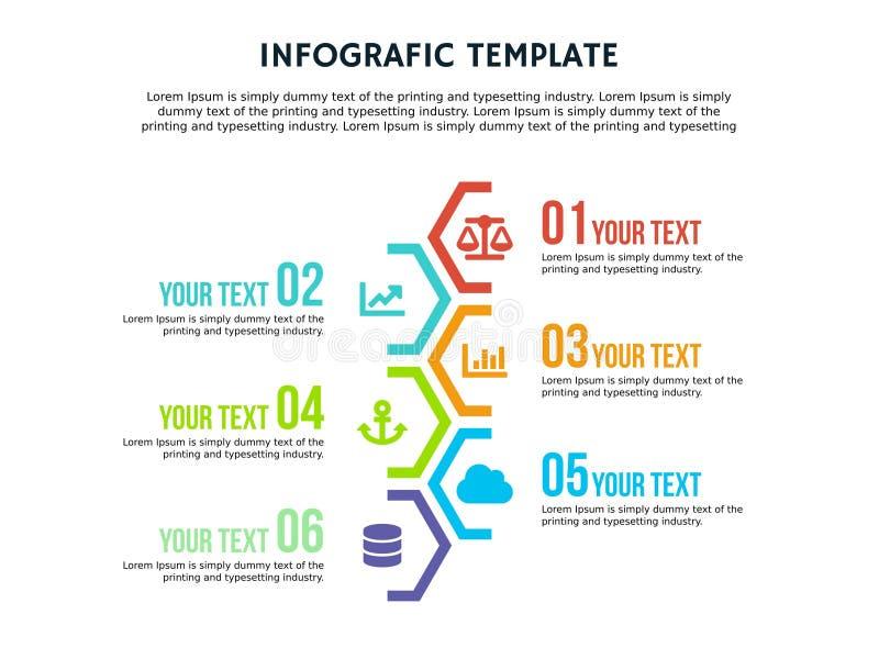 Plantilla hexagonal y PowerPoint de Infographic a todo color fotos de archivo libres de regalías