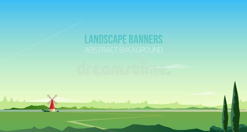 Plantilla horizontal del fondo o de la bandera con paisaje rural espectacular o paisaje natural Campo magnífico con libre illustration