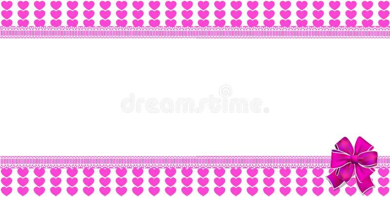 Plantilla horizontal linda con los corazones rayados rosados envueltos con b stock de ilustración