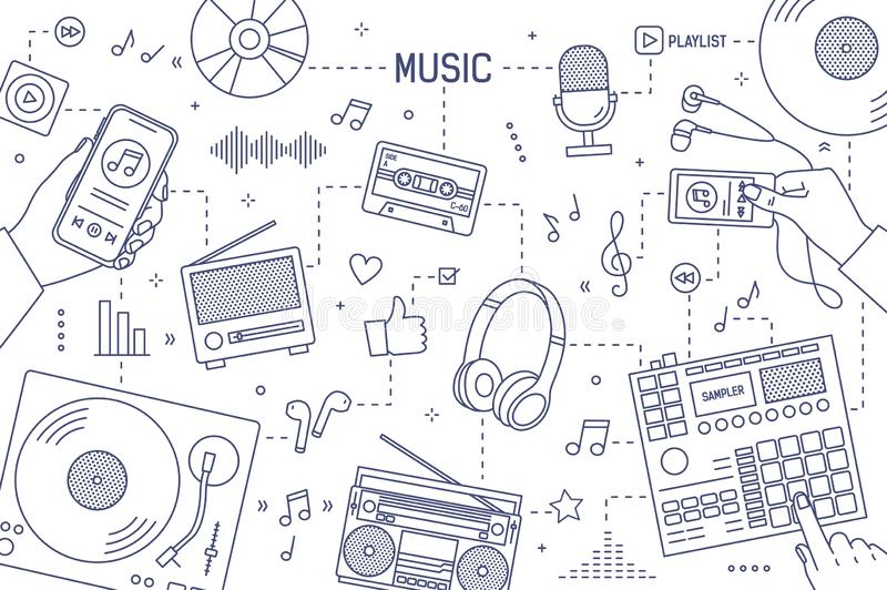 Plantilla horizontal monocromática de la bandera con las manos y los dispositivos para la música que juega, registrando y escucha stock de ilustración