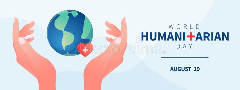 Plantilla humanitaria de la bandera del día del mundo con las manos que cuidan ilustración del vector
