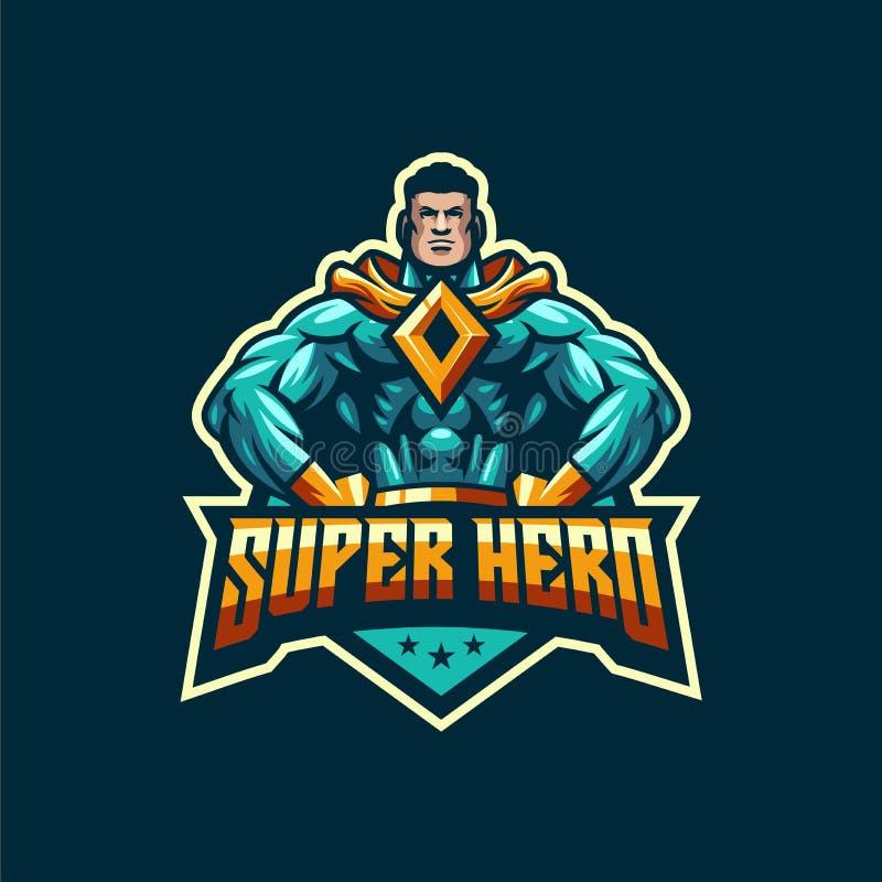 Plantilla impresionante del logotipo del superhéroe stock de ilustración