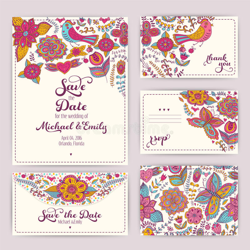 Plantilla imprimible de la invitación de la boda: invitación, sobre, th ilustración del vector