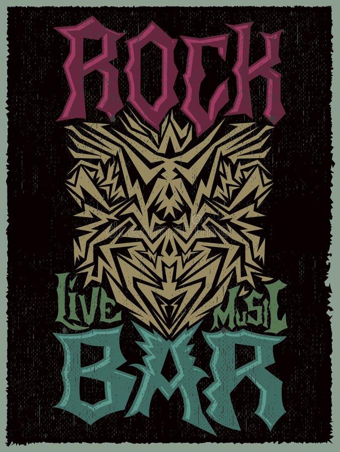 Plantilla incondicional del diseño del cartel de la barra de la roca libre illustration