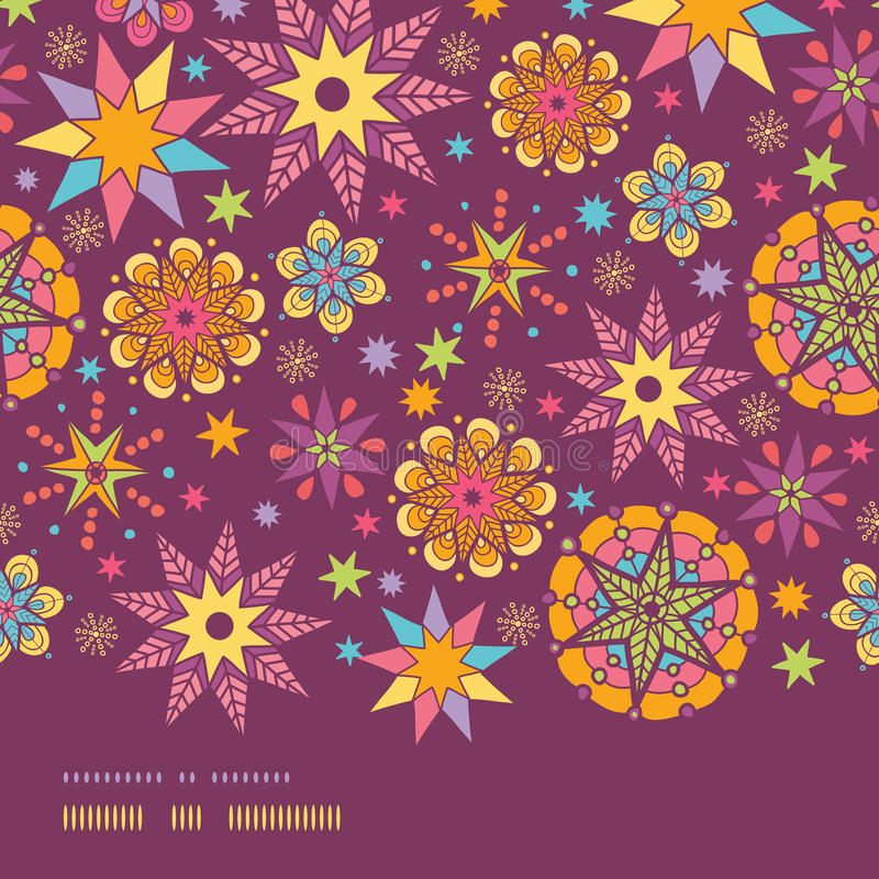 Plantilla inconsútil del fondo del modelo de la frontera horizontal colorida de las estrellas ilustración del vector