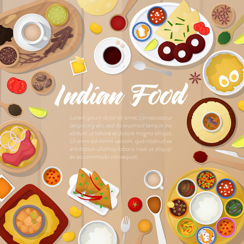 Plantilla india del menú de la cocina con el pollo, el arroz y el curry Alimento asiático tradicional stock de ilustración