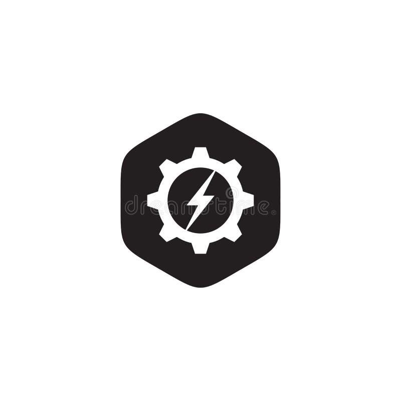 Plantilla industrial del vector del diseño del logotipo del icono con el engranaje y el icono de destello libre illustration