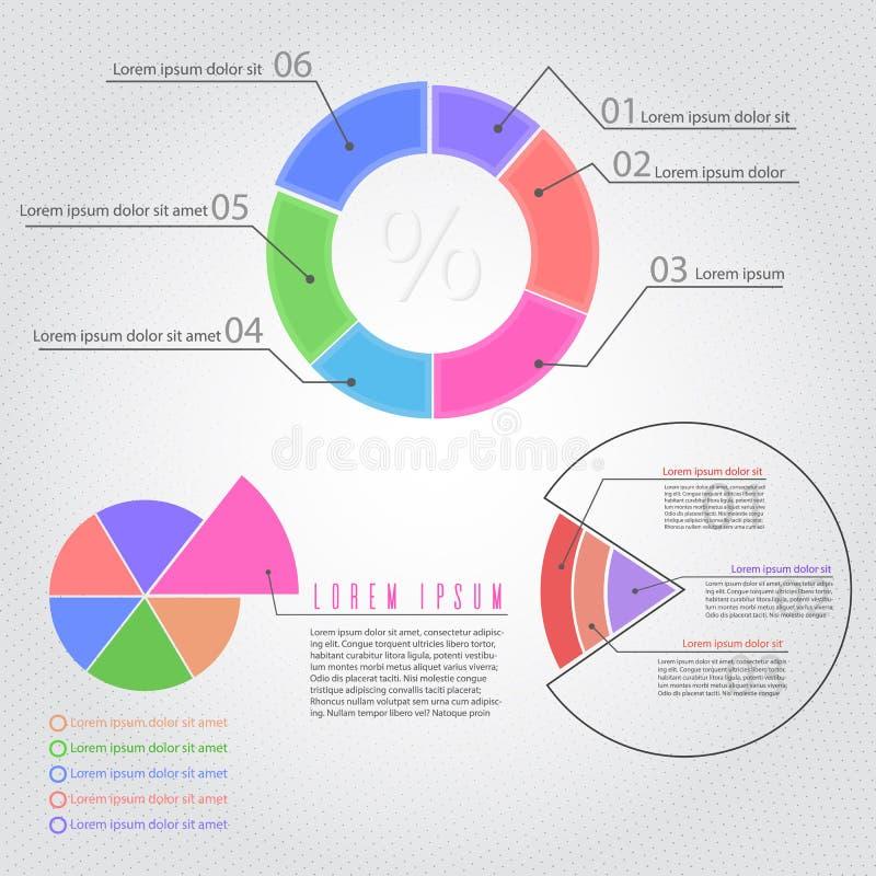 Plantilla infografic del pedazo de la empanada del círculo stock de ilustración