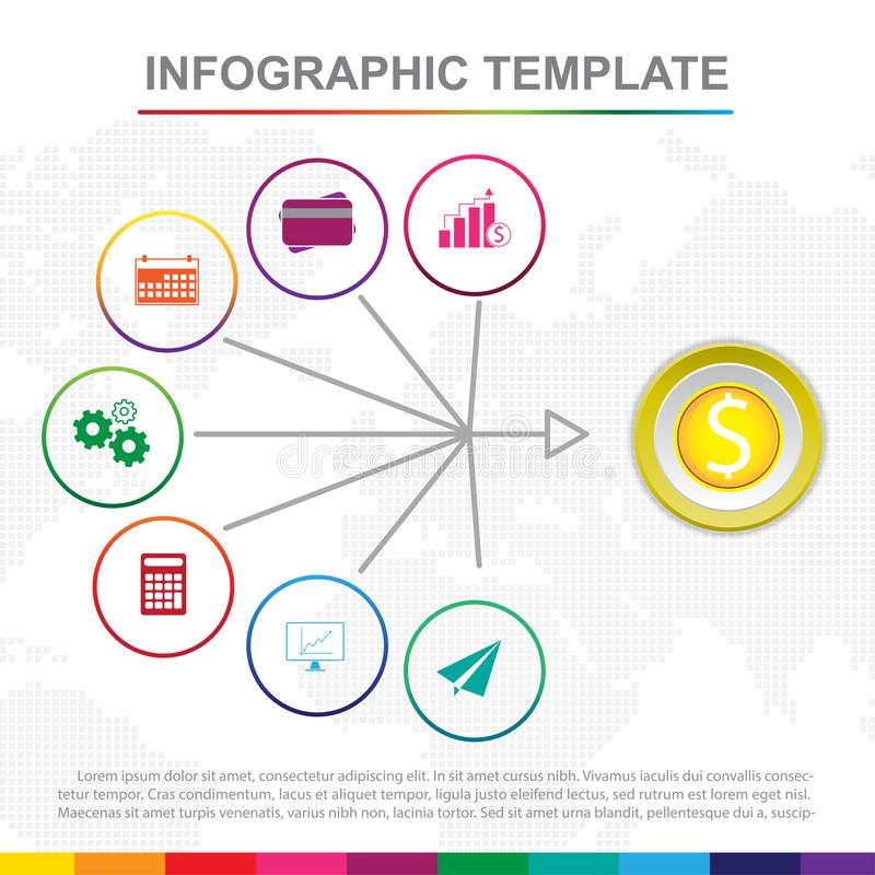 Plantilla infographic colorida con 9 títulos, diagrama con pasos stock de ilustración