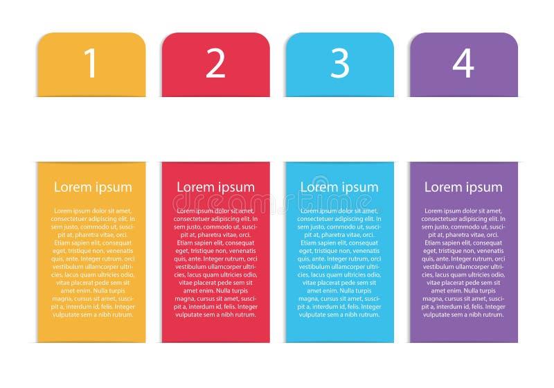 Plantilla infographic colorida moderna del vector vertical con cuatro s ilustración del vector