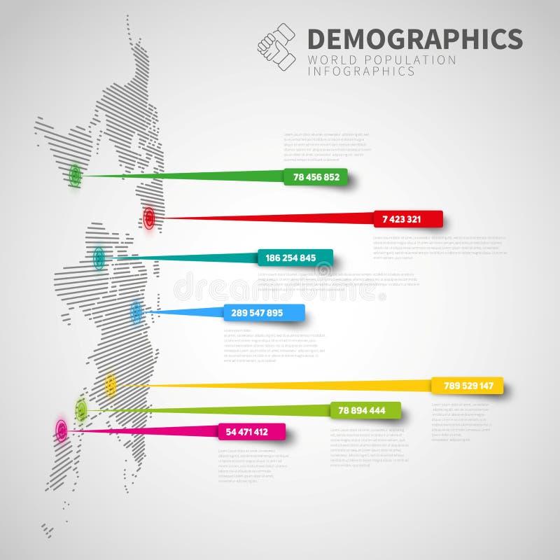 Plantilla infographic con las marcas del indicador, versión ligera del mapa del mundo ilustración del vector